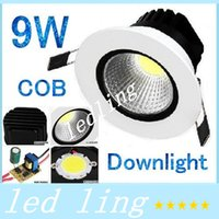 20pcs / lot 9W cob led downlight lihgt Downlight pour maison Dimmable Chaud / Cool blanc Led lampe de plafond 110V 220-240V