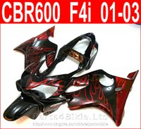 Wholesale Honda F4i Parts - Hot sale Red flame body parts Style for Honda CBR600 F4i fairing kit 2001 2002 2003 CBR F4i cbr600f4i fairings QCUS