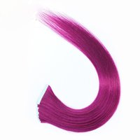 Wholesale Grade 5a Indian Hair - grade 5A 18''-22'' 100% Indian Human PU EMY Tape Skin Hair Extensions 2.5g pcs 40pcs&100g pack # purple hair DHL FREE shpping