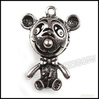 Charms blackening metal - 24pcs Fashion Antique Silver Blacken Metal Mouse Pendants Jewelry Findings mm On Sale