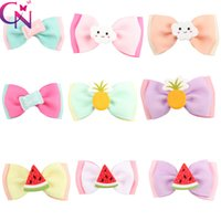 Wholesale Birthday Girl Pin - Boutique Cute Mini Hair Bow Korean Fashion Pinapple Hair Clips For Girls Kid Hair Pins For Birthday Party SuppliesWholesale