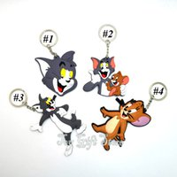 Wholesale Keychain For Coin - Free Shipping 4 Styles New Tom and Jerry Keychain Action Figures Fashion Toys For Christmas Gift