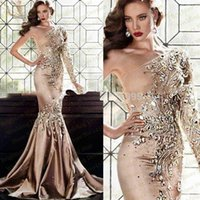 Wholesale One Shoulder Bling Dresses - 2017 Gorgeous Crystal Beads Mermaid Evening Dresses Bling Long Sleeveless Sexy Party Prom Dresses Gowns Robe De Soiree