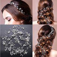 Wholesale Leaf Tiara - Luxury Leaf Headband Pearl Crystal Long Bridal Hairbands Crown Headpiece Headdress Wedding Hair Accessories Bride Tiara Jewelry
