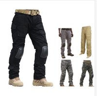 Men black combat pants - Tactical Gen Gen2 army cargo Integrated Battle Pants combat trousers with Detachable Knee Pads for paintball Airsoft hunting