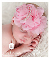flores de crochet para faixas de bebê venda por atacado-10 pcs bebê pérola headbands menina rosa flor para hairbands crianças acessórios de cabelo pérola flor cabelo arco handmade crochet headwear chiffon