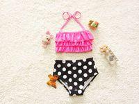 Wholesale Girl Star Swimwear - 2017 New Design Girl Swimwear Polka Dot Star Print Bikini Two Piece Swimming Suit 1-8T 4007