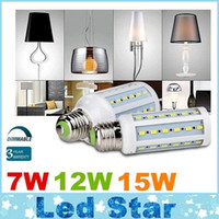 Wholesale E14 Corn 6w - Dimmable 7W 12W 15W Led Bulbs E27 E26 E14 B22 SMD 5730 Led Corn Lights 360 Angle AC 110-240V + CE UL CSA