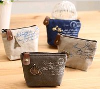 Wholesale Vintage Purse Coin Keychain - High quality Women's canvas bag Coin keychain keys wallet Purse change pocket holder organize cosmetic makeup Sorter #728