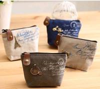 Wholesale Vintage Change Holder - High quality Women's canvas bag Coin keychain keys wallet Purse change pocket holder organize cosmetic makeup Sorter #728