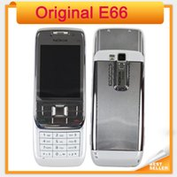 Wholesale E66 Phone - Original Nokia E66 Unlocked 3G Mobile Phone WIFI GPS Bluetooth Russian Keyboard Cell Phone In Stock