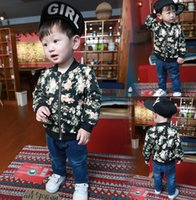 Wholesale Baseball Jacket Lined - Boys Flower Printing Baseball Coat For 2015 Winter Arrival Zipper Children Round Neck Jackets Floral Kids Outwear Fit 1-4 80-120 Age SS532
