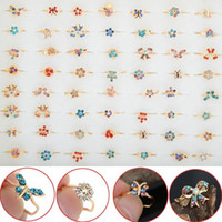 Wholesale Gold Mix Design Rings Jewelry - 60pcs Wholesale Lot Gold Tone Assorted Design Crystal Ring Cute Kid Child Party Small Size Adjustable Jewelry Xmas Gift Free Ship