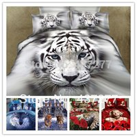 Wholesale-7pcs Baumwolle Bettwäsche-Sets 3D-Tiger, Leoparden, Wölfe, Marilyn Monroe, stieg Duvet / Deckbettabdeckungen, Bettlaken Set voller Queen King-Size-