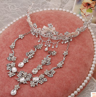 Wholesale Bridal Jewlery Sets - 2015#H0014 Bridal Headband Clear Austrian Rhinestone Crystal Necklace Earrings Set Bridal Crown Tiara Wedding Jewlery Hot Selling
