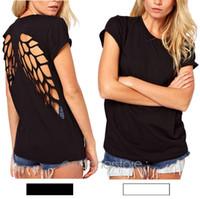 backless flügelhemd großhandel-Wholesale-2016 neue populäre beiläufige Frauen Punk Laser Backless hohlen Engelsflügel ausgeschnitten Tops T-Shirt