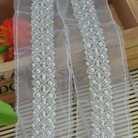 Wholesale Wholesale Braided Trim - Craft Braided Beaded Fake Pearls Rhinestones Trim Embroidered Lace Ribbon Trim Costume Applique Sewing on Trim 3 yards Lot