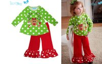 Wholesale Kids Pants Wholesale Prices - kids girls christmas long sleeve sets baby girl deer shirt pants suit clothes 5set lot low price fashion 2017