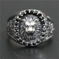 ingrosso anello di leone di 316l-3pc / lot Misura 8-13 Nuovo arrivo Crystal Lion King Ring Anello in acciaio inossidabile 316L di alta qualità da uomo Ragazzo Gioielli popolari Anello Lion
