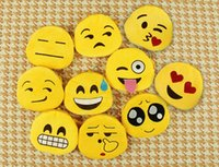 Wholesale Korean Soft Toys - PrettyBaby cartoon emotions faces emoji coin purse cute mini wallet coin bag with Small Zipper Soft Stuffed Plush Round Wallet Toy 10cm