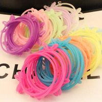 Wholesale Cheap Rainbow Rings - cheap candy color rabbit ear silicone bracelet Rainbow Loom glow Fluorescent color Luminous color rubber band hair accessories hair ring