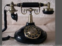 Wholesale Vintage Corded Phones - Wholesale-Free shipping 1920 dial antique telephone black old rotary retro vintage telephone Corded landline home office telephone phone