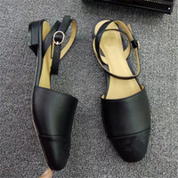 65db240fb1f94 Jhe09 Run Way Mixed Color Closed Toe Slingback Sandals Thong Genuine  Leather Sandals Party Low Heel Dress Pumps Lady Women Shoes Sz 35-42