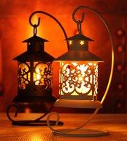 metal çay ışık tutacakları toptan satış-Demir Fas Tarzı Şamdan Mumluk Mum Çay Işık Tutucu Dekor