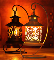 Wholesale Christmas Hurricane Candles Holder - Iron Moroccan Style Candlestick Candleholder Candle Tea Light Holder Decor