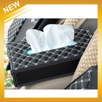 Wholesale Dashboard Leather - Wholesale-Luxury European Style Auto Dashboard Accessory Leather Home Or Car Tissue Box, Free Shipping