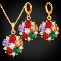Wholesale Gold Plated Bridal Necklace Sets - 18K Gold Plated Crystal Necklace Earrings Set For Women Fashion Jewelry Mix-Color Cubic Zircon Flower Bridal Jewelry Sets PE1109