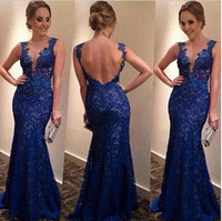 Wholesale Sexy Elegant Maxi Long Dress - Hot Sale Sexy Lined Long Lace Evening Dress gowns women vintage elegant V-neck Prom Dresses Formal Evening Gown lace dress highFREE SHIPPING