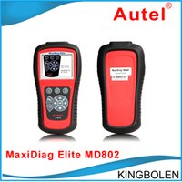 Elite Md Pas Cher-Authentique Autel MaxiDiag Elite MD802 Tous les systèmes Advance Graphing OBDII Scan Code Clearing Tool MD 802 Full System Code Reader