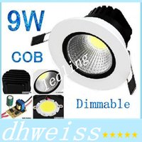 DHL 9W cob led downlight lihgt Downlight pour maison Dimmable Warm / Cool blanc Led lampe de plafond 110V 220-240V + CE ROHS