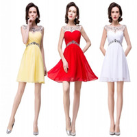 Wholesale Cap Sleeved Party Gowns - Hot Chiffon Homecoming Dresses 2017 Sheer Neck Crystals Beaded Cap Sleeved Empire Short Party Dresses Bridesmaid Prom Cocktail Gowns BZP0751