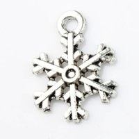 Wholesale Earring Snowflake Silver - 200pcs lot Antique Silver Cute Arched Snowflake Charms Pendants Fashion Jewelry DIY Fit Bracelets Necklace Earrings L794 13.1x18mm