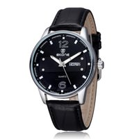 Wholesale Business Week - Fashion Casual Luxury Quartz Business Watches Round Dial Week Date Display PU Leather Men Watches Wristwatches