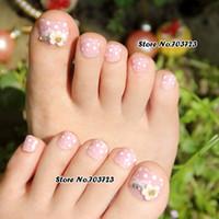 Wholesale Toe Nail Art Flowers - Wholesale-24x Nail Art Lover Artificial False Lady's Pre Design Toenails Toes Flower Lovely pink