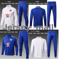 Alta qualità 2017 18 KIDS LUNGHE MANICHE calcio Chelsea SPORTSWEAR Felpa con cappuccio Top in pantaloni cappotto Sports BOYS Training Suit 17 2018 KIDS