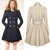 xxl uzun trençkot toptan satış-Mont Ceketler Bayanlar Yaka Kış Sıcak Uzun Parka Ceket Trençkot Dış Giyim Ceket Boyutu S-XXL Trençkotlar Kabanlar kadın Giyim 3 Renkler