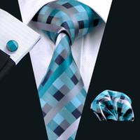kravat seti hırka kol düğmesi toptan satış-Sıcak Satış Klasik Teal İpek Kravat Seti Hanky Kol Düğmeleri Jakarlı Dokuma Erkek Kravat Seti Iş Iş Resmi N-0553