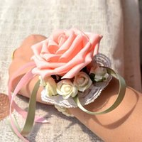 Wholesale Wrist Corsage Pink - (6 pcs lot ) 2015 New Arrivals Pink Wedding Handmade Artificial Bride Wrist Flowers Bridesmaid Wrist Corsage Cheap