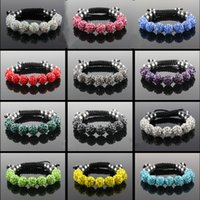 Wholesale Shamballa Stainless Steel Beads - Fashion 10mm Disco Crystal Ball Beads Shamballa Charms Bracelets Jewelry Infinity Wrap Bracelet Bangles For Women 28 Colors Avialable