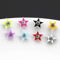 Wholesale Pair Magnetic Earring - Hot Wholesale Lot 12 Pairs Cute Crystal Star Earrings Baby Girl Women's Magnet Magnetic Earrings Christmas Gift ME90