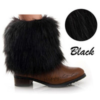 Wholesale Black Fur Boot Covers - Wholesale-Women's warmers Retail 2 x 15cm boot socks leg cuffs Faux Fur Warm Fashion Lower Sleeves Cover Ankle Warmer Casual 1 Pair