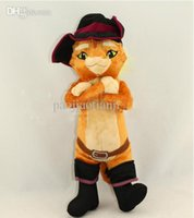 "Wholesale Puss Boots Toys - Wholesale-1pcs Anime Cartoon Shrek Puss in Boots Cat Plush Toy Soft Stuffed Animal Doll 15"" 38CM Christmas Gifts Free Shipping"