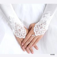 Wholesale Glove For Wedding - 5.99$ In Stock 2017 White Ivory Red Beaded Applique Lace Fingerless Wedding Bridal Gloves Prom Evening Cocktail Gloves for Bride CPA245