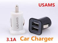 Wholesale Dual Port Universal Power Bank - HOT Black White USAMS 3.1A Double USB Ports Car Charger Adapter Universal For iPhone Tablet PC iPhone Samsung HTC Dual Ports Charger ipad