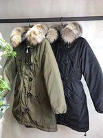 M Brand Mulheres Winter Army Green Jacket Coats Thick Down Parkas Plus Size 100% Real Raccoon Fur Collar Hooded Down Coat 2 cores