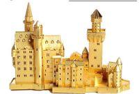 Wholesale Neuschwanstein 3d - Schloss Neuschwanstein gold silver color 3D laser cutting DIY Metallic building model educational Jigsaw Puzzle birthday gifts